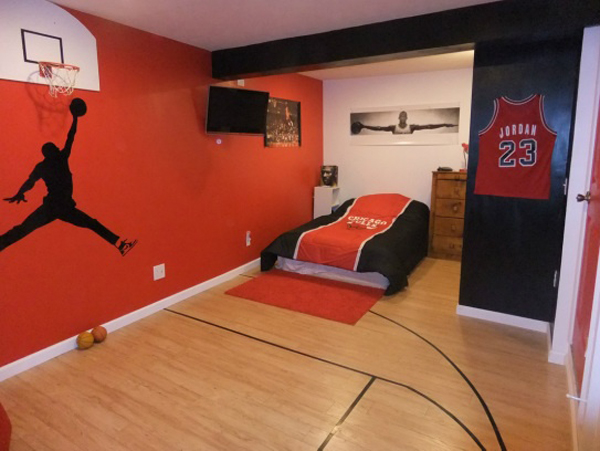 20 sporty bedroom ideas with basketball theme home for Themed bedrooms for boys