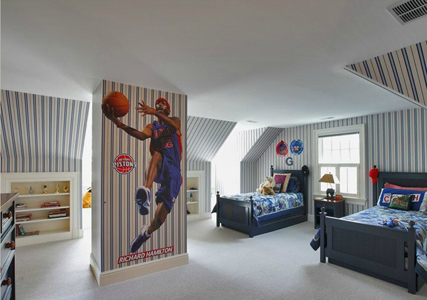 20 sporty bedroom ideas with basketball theme home for My room wallpaper