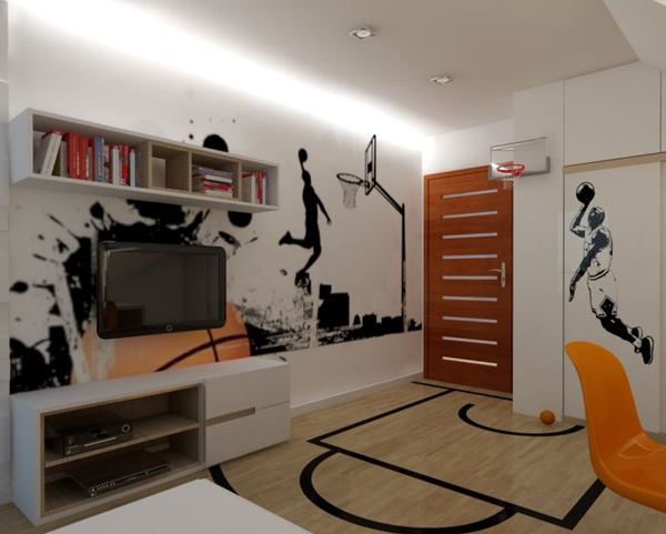 Sport Wallpaper For Boys Room: 20 Sporty Bedroom Ideas With Basketball Theme