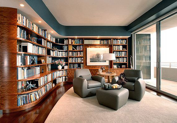 modern home library decor