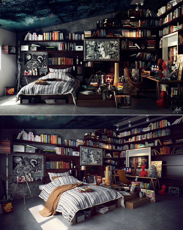 Modern Library Bedroom Decor