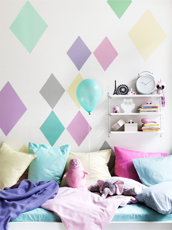 Wall Art Pastel Colours : Pastel kids wall bedroom