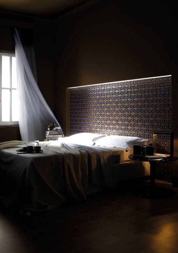 patterned niche headboard bedroom