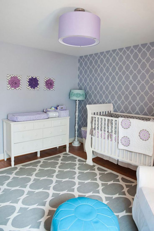 Purple baby girl nursery room decoration Baby girl decorating room