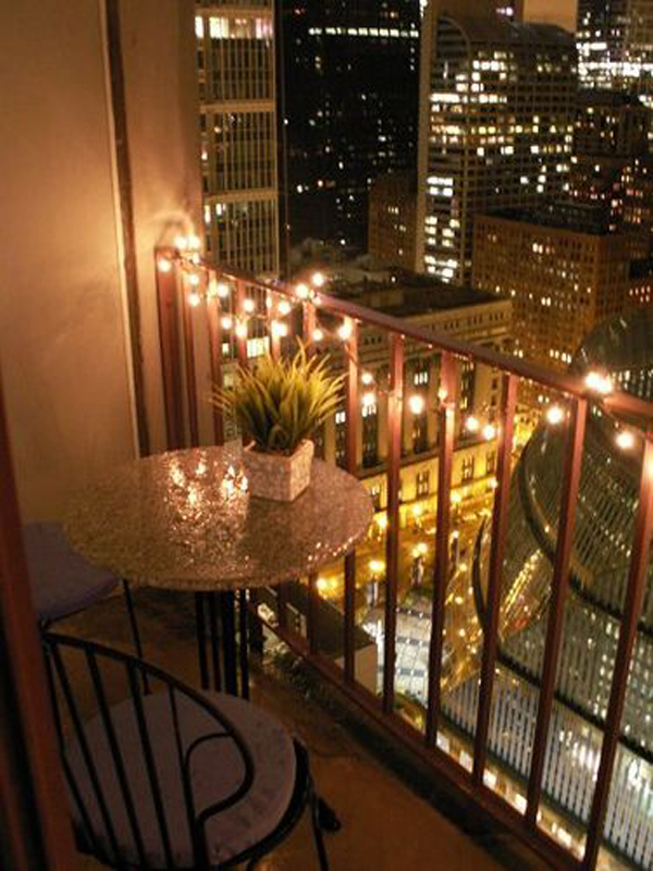 Romantic Balcony Lighting City View