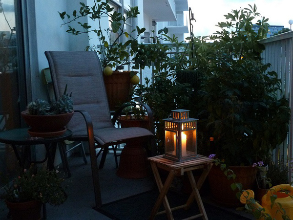 Small balcony candle light