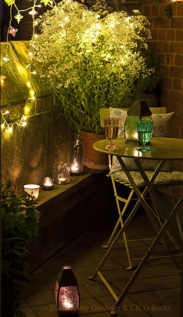 15 small balcony lighting ideas home design and interior for Outdoor balcony decorating ideas