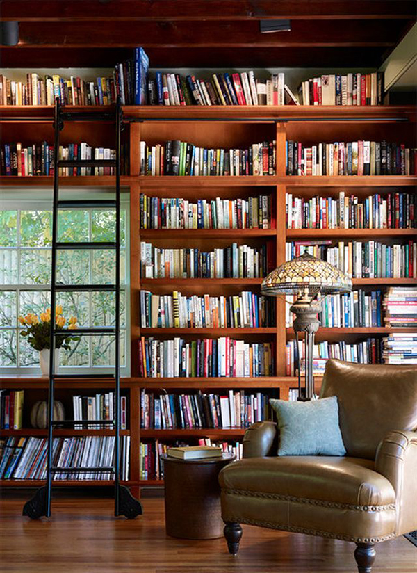 Small home library with ladder Small library room design ideas