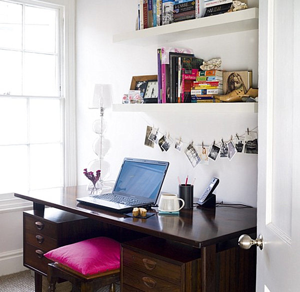 20 Inspiring Home Office Design Ideas For Small Spaces: Small-home-office-storage-design