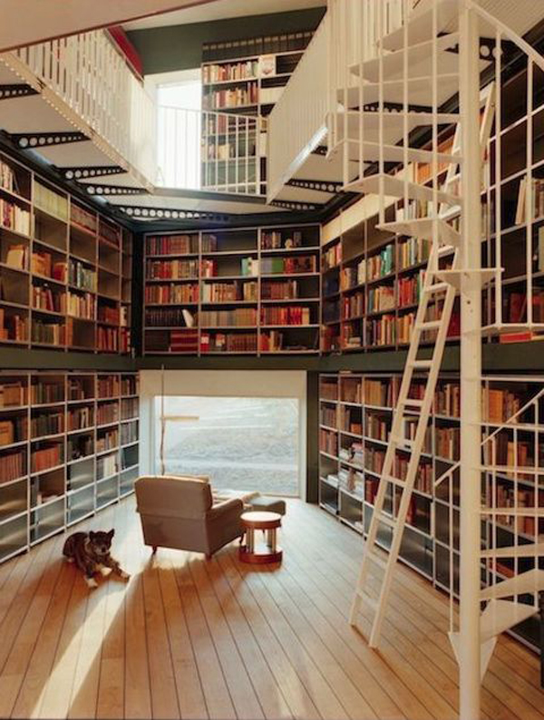 Wood Home Library Decor