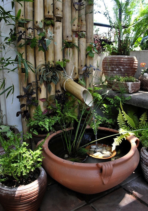 Bamboo mini pond gardens for Japanese bamboo water feature