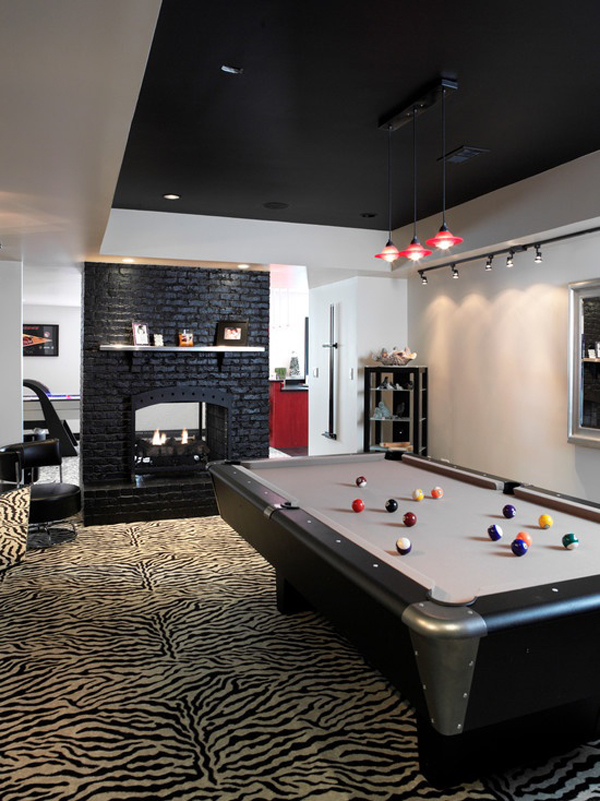 Billiard Pool Table With Fireplaces