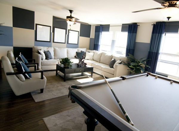 billiard room and living area