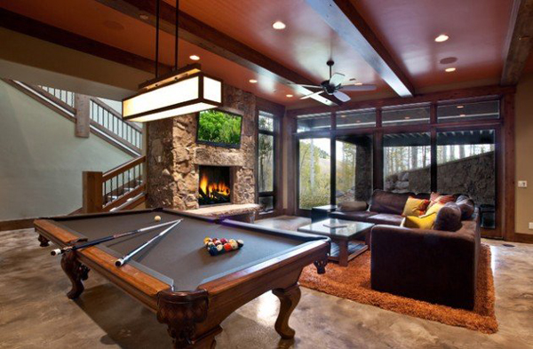 billiard table in living room decor