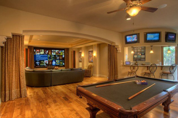 30 amazing billiard pool table ideas home design and for Living room ideas quiz