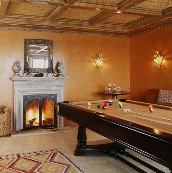 Billiard Tables With Traditional Fireplaces