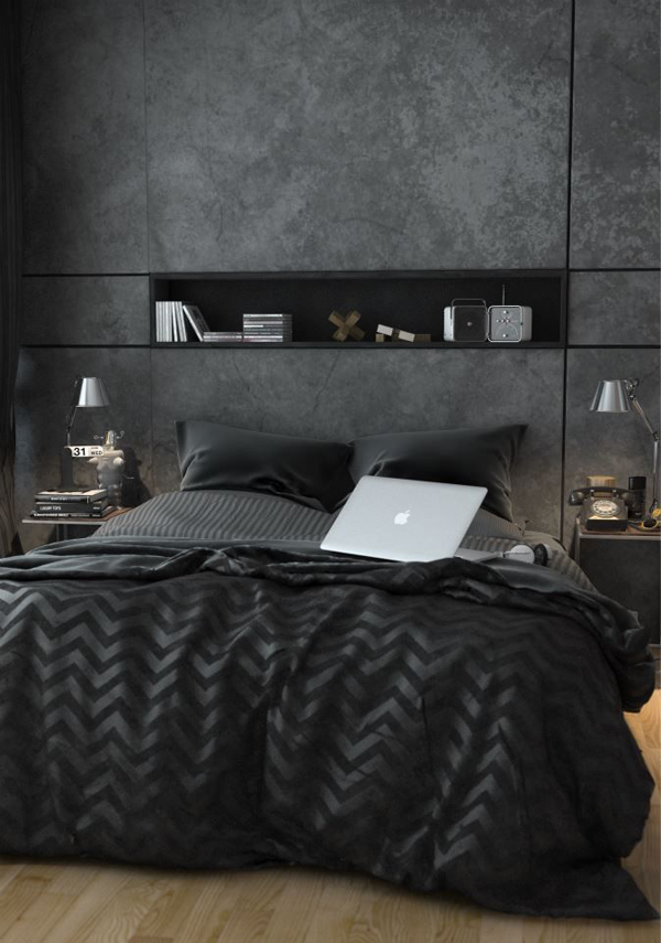Wall Decor For Masculine Bedroom : Black bachelor pad bedroom ideas