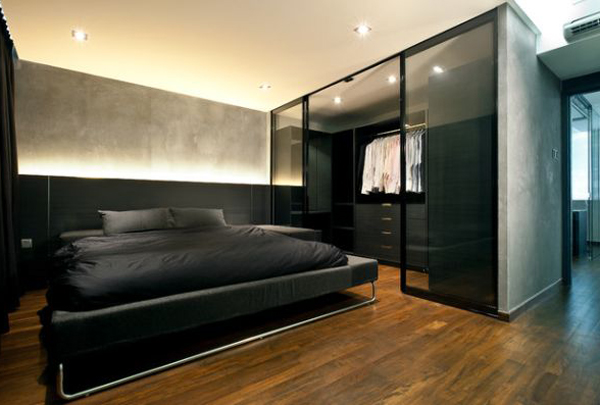 Black Bachelor Pad Bedroom With Walk In Closet