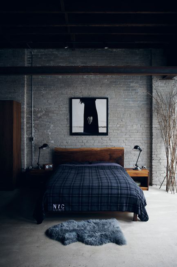 Stone And Wood Make A Dark Masculine Interior: 25 Trendy Bachelor Pad Bedroom Ideas