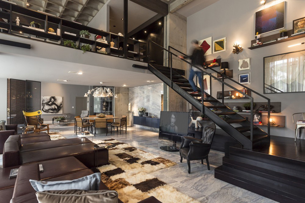 Contemporary artful apartment in brazil home design and for Open concept loft