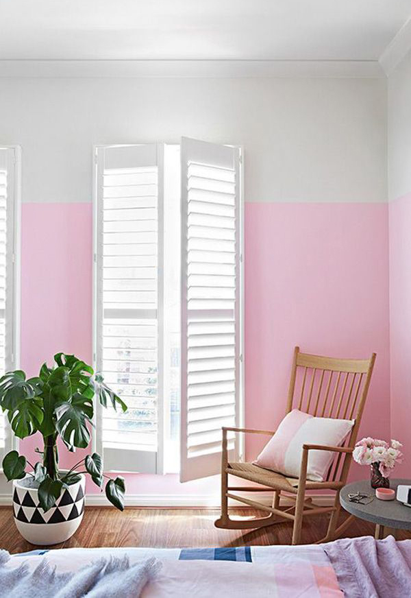 15 Half Painted Wall Decor Ideas: Pink-half-painted-wall-decor-ideas