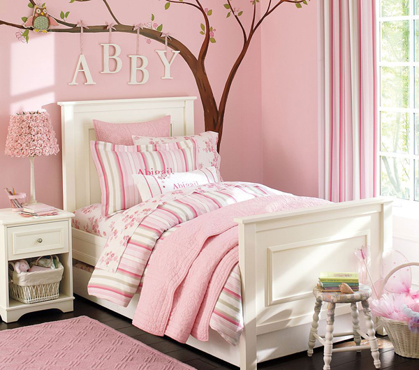 pink bedroom ideas with tree wall decals