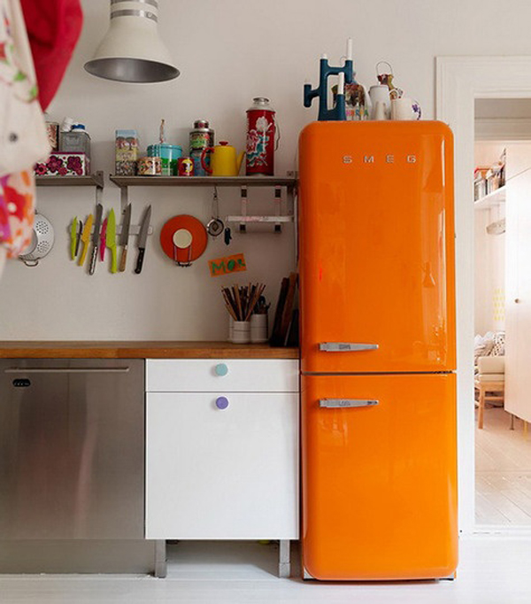retro orange smeg fridge. Black Bedroom Furniture Sets. Home Design Ideas
