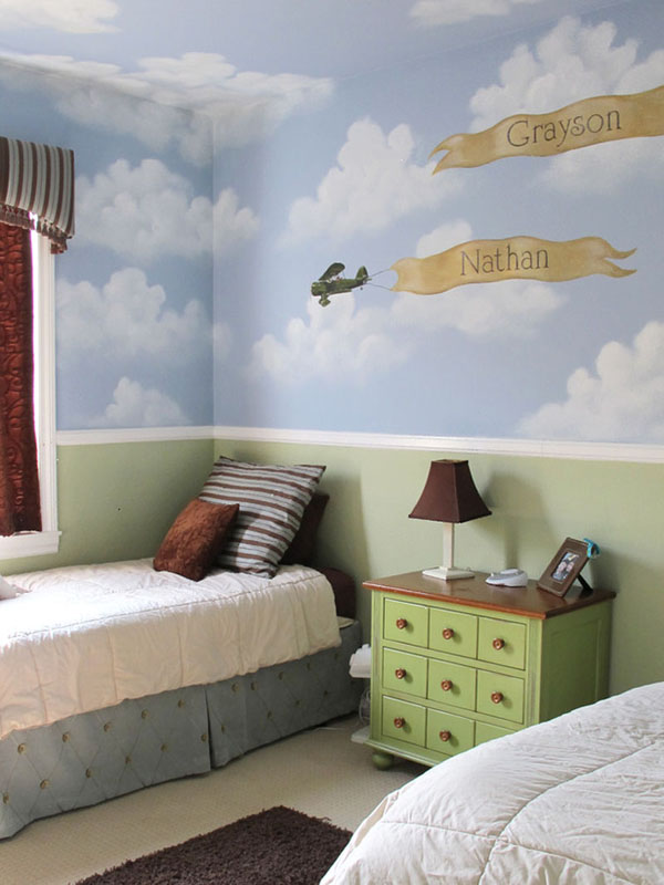 Shared Kids Bedroom Ideas With Cloudy Wallpaper