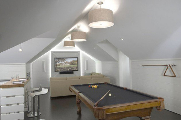 Small billiard room with tv media for Small pool table room ideas