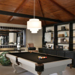 Billiard table in living room decor for Small pool table room ideas