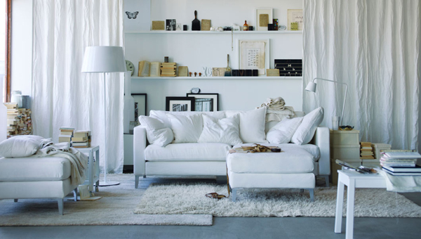 white-IKEA-curtains-living-room | Home Design And Interior