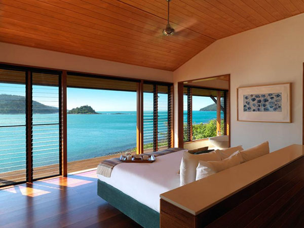 Wooden bedrooms with beach view