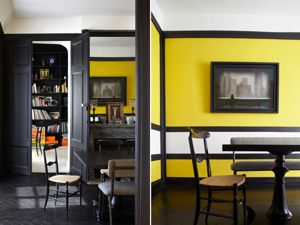 Paris Apartment With Yellow Interior Wall Home Design And