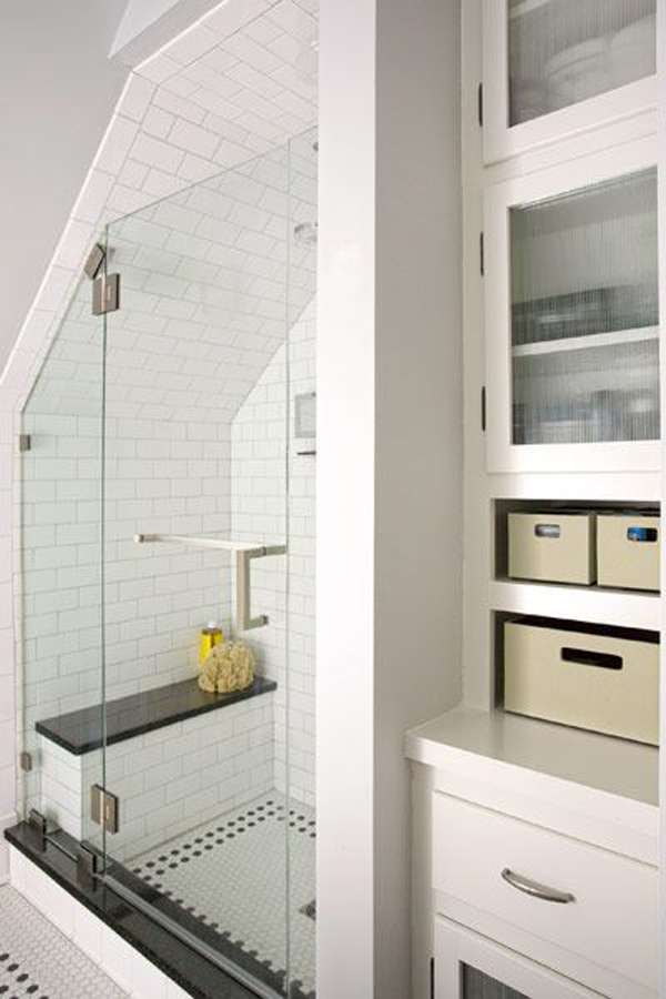 small finished attic ideas - attic bathroom shelving cabinet