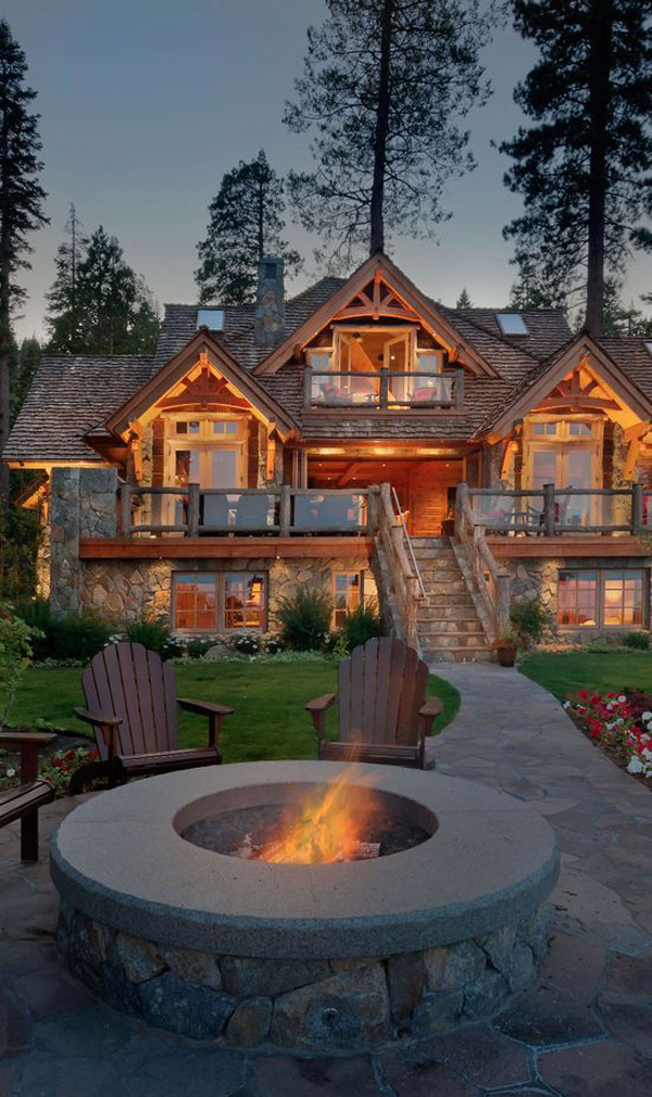 Awesome Mountain House With Outdoor Fireplace