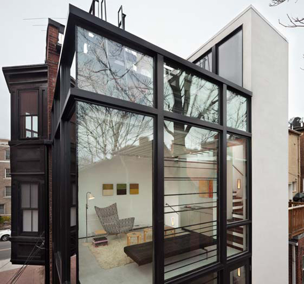 Modern Row House Plans: Barcode House With Glass Details By David Jameson