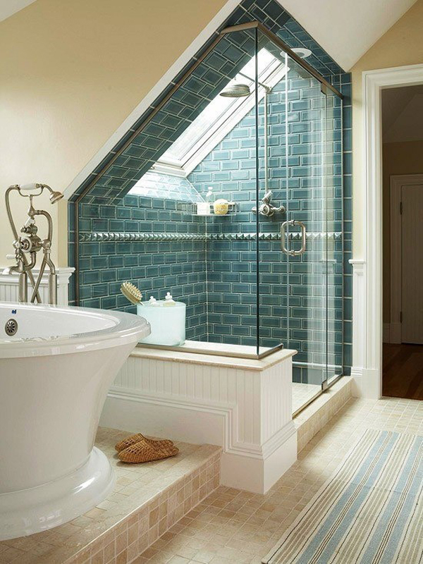 Bright attic bathroom designs for Bright bathroom designs