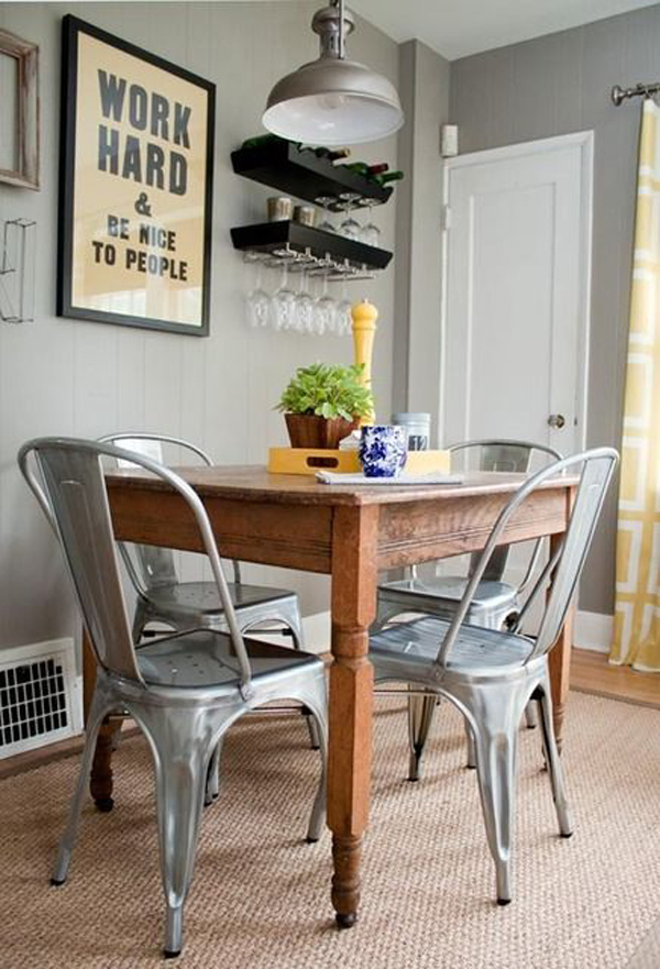 Industrial Metal Dining Chairs. Metal Dining Chair Silver Anodized ...