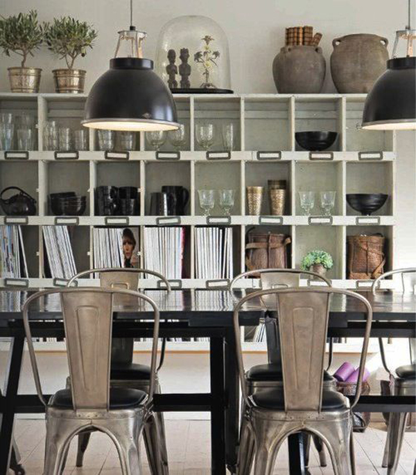industrial dining room with shelving cabinet