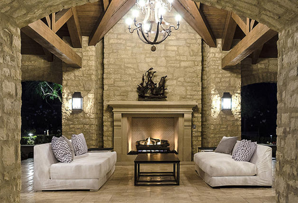 Luxury seating area with fireplaces for Luxury fireplaces luxury homes