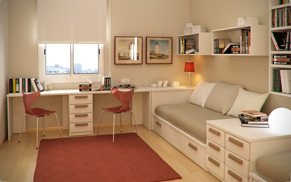 small-kids-room-with-L-shaped-study-desk-and-bunk-beds
