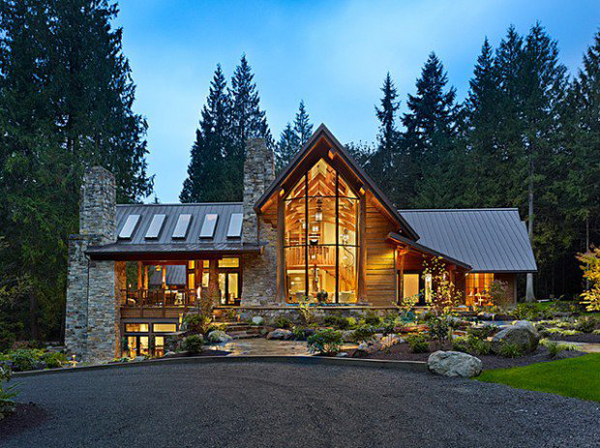 Mountain house decor for Contemporary log home plans