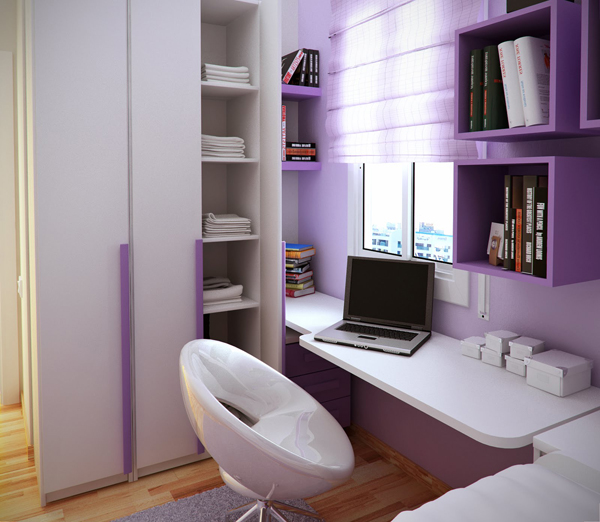 Purple Small Kids Room With Smart Bookshelf And White Egg Chair