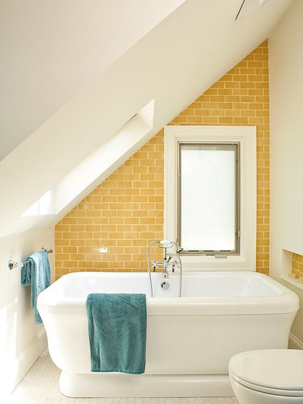 Small attic bathroom decoration for Bathroom ideas yellow tile