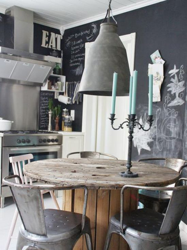 25 industrial dining room with masculine interiors home for Vintage style dining room ideas