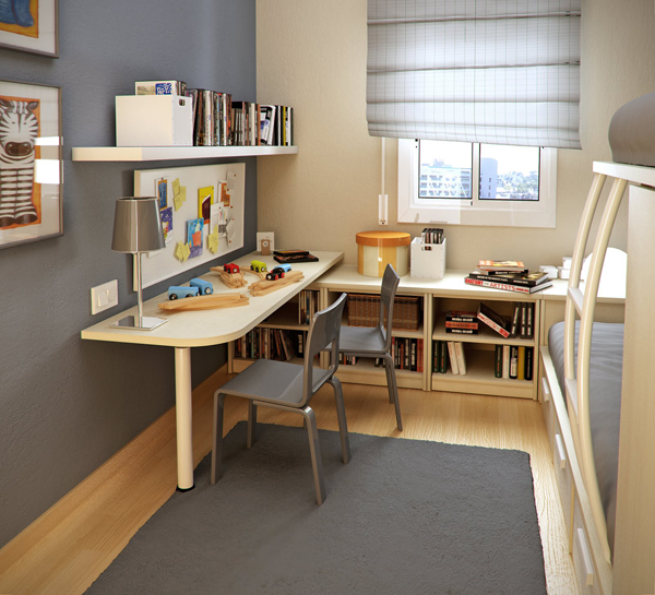 small kids room with l shaped study desk and bunk beds