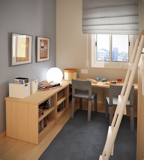 Small Study Room Ideas: Small-kids-room-with-L-shaped-study-desk-and-library-ladder