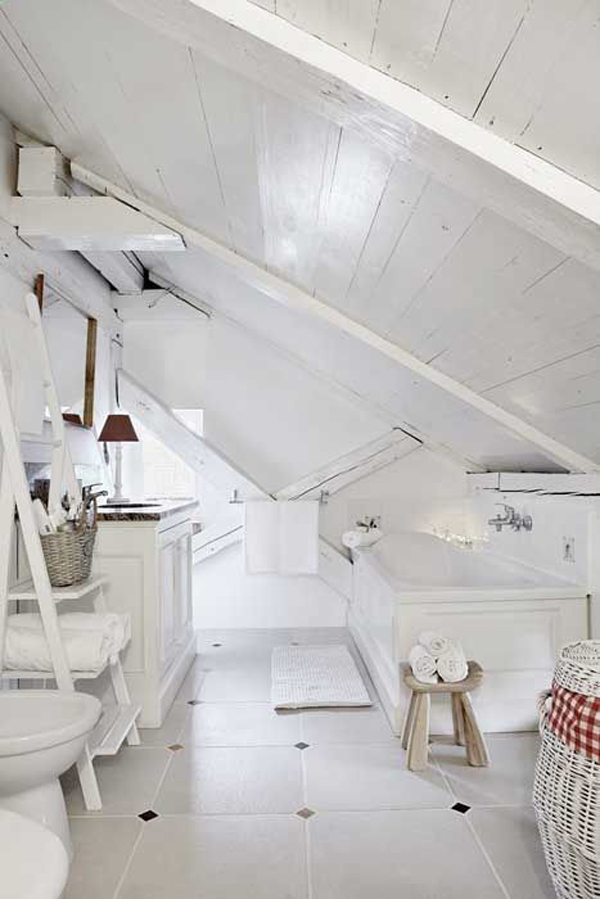 design ideas for attic bathrooms - vintage loft bathroom ideas