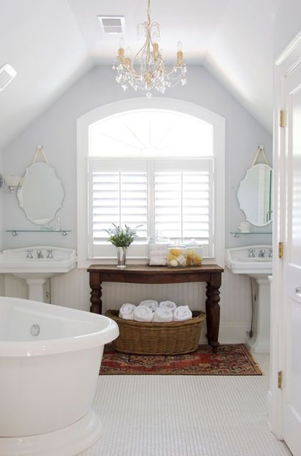 White attic bathroom decor for Home decor bathroom pictures