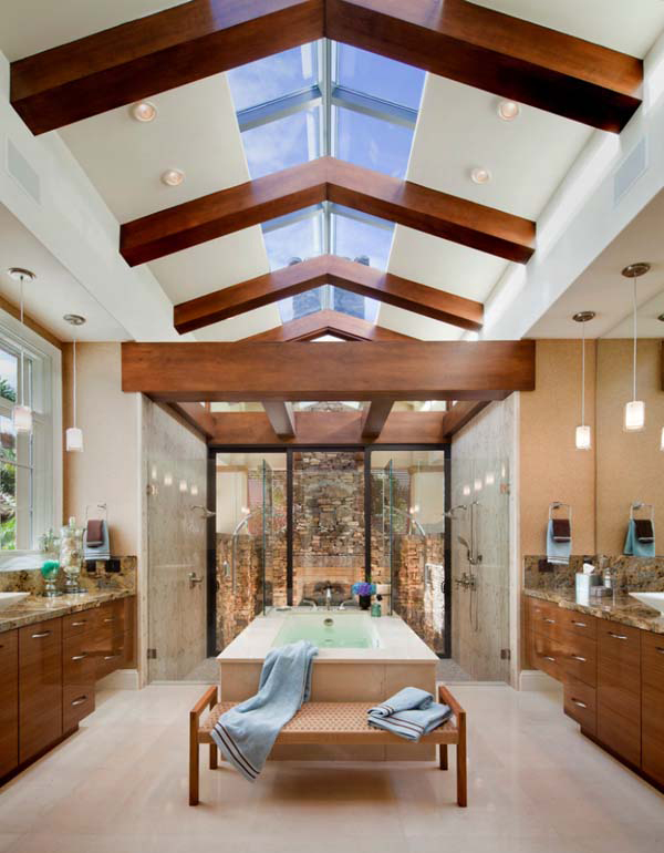 Amazing master bathrooms with fireplaces for Amazing bathroom remodels